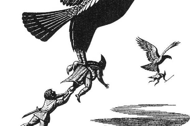 picture of eagle rescuing hobbits